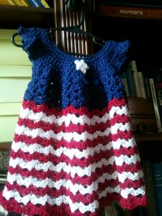Fourth of July!! Crochet baby dress.