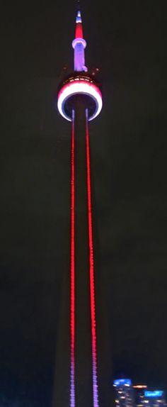 @CN Tower / La Tour CN lit up the night during #TBEX @Tourism Toronto