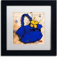 Trademark Fine Art Flower Purse Yellow on Blue Canvas Art by Roderick Stevens, White Matte, Black Frame, Size: 11 x 11