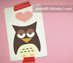 Little Design Cafe: Cute Owl Card Freebie for Your Valentine.