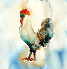 Rooster watercolor: reminds me of Book of the Dun Cow!