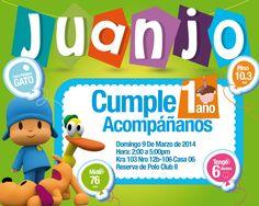 Pocoyo birthday invitation card . Tarjeta de invitación de fiesta de pocoyo