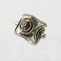 Amethyst & Blue Topaz Sterling Silver Two Tone Spiral Ring