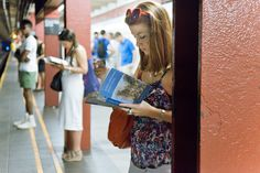 The Underground New York Public Library is a visual library featuring the Reading-Riders of the NYC subways.