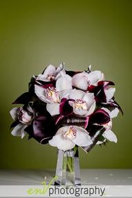 White Orchids  Black Callas wedding flowers