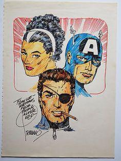 "Nick Fury, Contessa Valentina ""Val"" Allegra de Fontaine and Captain America - color drawing by Jim Steranko"