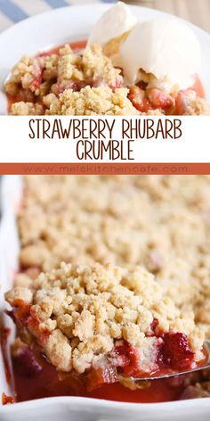 Strawberry Desserts Discover Strawberry Rhubarb Crumble The easiest strawberry rhubarb crumble! This delectable dessert is perfectly tart and sweet with a buttery golden crumble topping that is irresistible! Strawberry Rhubarb Recipes, Rhubarb Desserts, Strawberry Rhubarb Crisp, Köstliche Desserts, Delicious Desserts, Dessert Recipes, Rhubarb Crisp Recipe, Rhubarb Oatmeal, Best Rhubarb Recipes