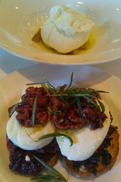 Burrata with Honeyed Pecan, grilled rosemary, Burrata Puglia (flown in from Puglia weekly) @ Osteria Mozza, Los Angeles