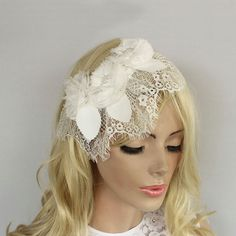 Beady Flowers Weddings Hair Fascinator with by MammaMiaBridal