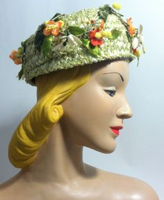 aba1d703d2f Orange and Yellow Flower and Berry Trimmed Domed Pillbox Hat circa 1960s