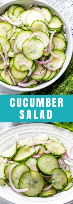 This Easy Cucumber Salad recipe is a family favorite recipe that people have been enjoying for ages. Thinly sliced cucumbers and onion are tossed in a sweet and tangy vinaigrette for a classic side dish.