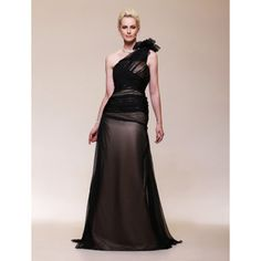 Chiffon Satin A-line  One Shoulder Sweep/ Brush Train Evening Dress inspired by Halle Berry – US$ 179.99