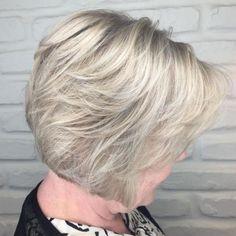 Short-Ash-Blonde-Bob-Haircut Bob Haircuts for Older Women Chic Look Short-Ash-Blonde Layered Bob Hairstyles, Short Bob Haircuts, Short Bob Hairstyles, Vintage Hairstyles, Cool Hairstyles, Feathered Hairstyles, Formal Hairstyles, Hairstyles Haircuts, Stacked Haircuts