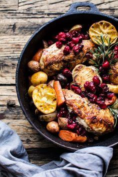 Skillet Cranberry Roasted Chicken and Potatoes   halfbakedharvest.com @hbharvest