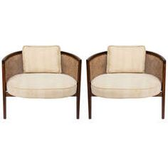 pair of mid century Harvey Probber Walnut And Cane hoop chairs For Sale Rattan Furniture, Furniture Decor, Furniture Design, Furniture Makers, Luxury Furniture, Armchairs For Sale, Dining Arm Chair, Diy Chair, Occasional Chairs