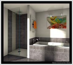 bad fliesen ideen modern wandgestaltung fliesen badezimmer ideen ... - Badfliesen Anthrazit