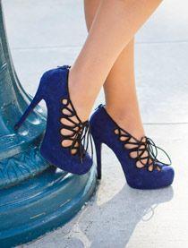 Lace up blue heels