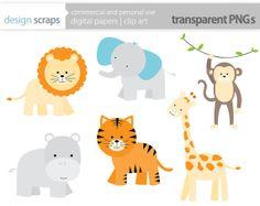 animal clip art graphics, wild jungle safari zoo animals digital clipart lion giraffe monkey elephant commercial use - INSTANT DOWNLOAD