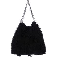 Pre-owned Stella McCartney Stella McCartney Crochet Falabella Tote (€650) ❤ liked on Polyvore featuring bags, handbags, tote bags, black, crochet pouch, crochet coin purse, tote purses, flower pouches and purse tote