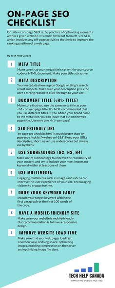 On-page SEO Checklist Infographic | This infographic is a handy one and can be used over to make sure that you're killing it when it comes to on-site optimization...