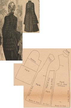 Der Bazar 1886: Springtime mantelet from brown woollen with brown lace and brown atlas lining; 40. front part, 41. side gore, 42. back part, 43. pelerine-sleeve part, 44. collar in half size