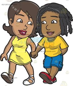 A Black Lesbian Couple Holding Hands :  A black woman with brown hair wearing a yellow sleeveless dress and white shoes looking lovingly at her lover with braided black hair wearing a yellow shirt blue cargo pants and red shoes as they walk together hand in hand  The post A Black Lesbian Couple Holding Hands appeared first on VectorToons.com.
