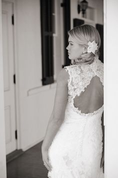 showing off the back of the dress