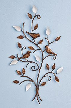 This stunning wall art features metal leaves hand-painted with a brushed bronze effect, plus 7 mirrored petals for a touch of shimmering elegance. Three beautiful birds sit atop the scrolling branches. Measures 14 x Mirror Wall Art, Glass Wall Art, Stained Glass Art, Metal Bird Wall Art, Metal Wall Decor, L'art Du Vitrail, Metal Art Projects, Bronze Mirror, Art For Sale Online