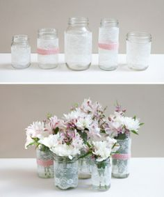 DIY wedding centerpieces are a great way to save money when planning a wedding. Chalk painted mason jars are trendy and super easy to make. Wedding Arrangements, Wedding Centerpieces, Floral Arrangements, Lace Jars, Vintage Accessoires, Chalk Paint Mason Jars, Wedding Painting, Mason Jar Flowers, Lace Decor
