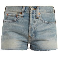 Re/Done Originals Originals The Short mid-rise denim shorts ($255) ❤ liked on Polyvore featuring shorts, metallic shorts, mid rise shorts, light blue shorts, frayed jean shorts and jean shorts