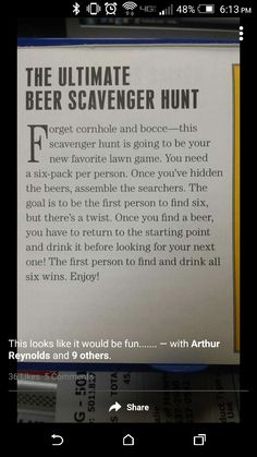 Beer scavenger hunt