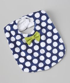 This Blue & White Polka Dot Bow Tie Bib is perfect! #zulilyfinds