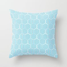 Buy Hexagons Pattern on Light Blue Throw Pillow by pabrimel. Worldwide shipping available at Society6.com. Just one of millions of high quality products available. #s6gtp