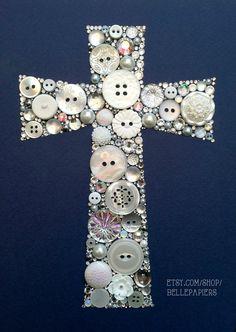 11 x 14 pulsante pulsanti Art Cross e strass di BellePapiers