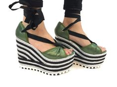 NEW Marc By Marc Jacobs Green Black Silver Platform Open Toe Wedge Shoes SZ 37.5  | eBay
