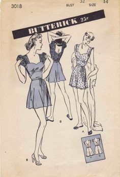 Butterick 3018 circa 1944 pajamas Lingerie Patterns, Sewing Lingerie, Vintage Lingerie, Short One Piece, One Piece Pajamas, Cute Rompers, Vintage Sewing Patterns, Sewing Ideas, Night Gown