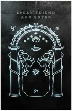 Speak Friend and Enter Door to the Mines of Moria 11 x 17 Print $15