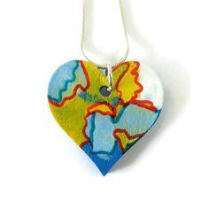 Heart Pendant Necklace, Painted Heart Pendant, Painted Pendant Necklace, Original Painting, Wearable Art, Picture Art, Art Lover's Gift