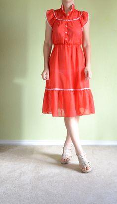 Under $10. Vintage 70s Dress hippie red white polka dot dress Prairie maxi
