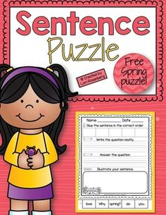 Sentence puzzles are a wonderful activity to help young learners practice reading, writing, spelling, conventions, and grammar. I hope you enjoy these free sentence puzzles. There are two versions. Just choose the one that your students need. If you like them, please check out the links below!Click here to see the Fall, Winter, and Spring Bundle Pack!I hope you enjoy this product.