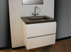 € 949,- Lambini Designs B-stone badmeubel Jura San Marco - Hoogglans wit - 1 kraangat - 70cm (B) - 50cm (D) #Badkamer #meubel #sanitair #inspiratie #natuursteen