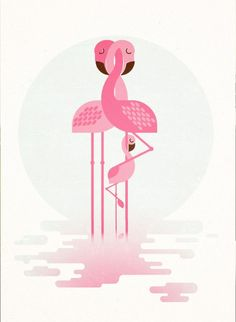 ARTFINDER: Flamingo Family by Gleb Toropov - The Flamingo Family print is one of a series of retro animal images available. These prints will bring warmth and fun to any room. Bold colours and simple sh...