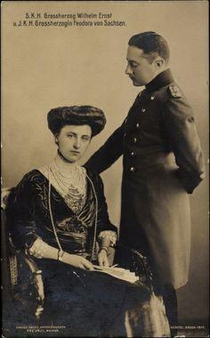 Grande-Duchesse Féodora de Saxe-Weimar-Eisenach (1890-1972) et grand-duc Wilhelm-Ernst de Saxe-Weimar Eisenach (1876-1923)