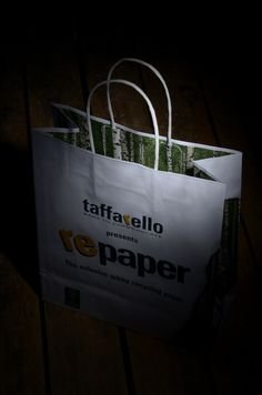 Repaper, the exclusive white recycled paper for shopping bag by Taffarello