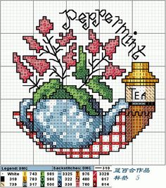 Peppermint Cross stitch. These's a whole set of these spice patterns