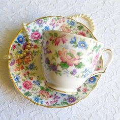 Vintage Crown Staffordshire Bone China Chintz Teacup & Saucer, Multi-Colored Floral. Perfect for a Vintage Tea Party, Gift, or Styling Prop by VintageTeaTreasures on Etsy