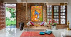 Loved the look of the wall and the swing - latha - Indian Living Rooms House Design, Home Decor Bedroom, Traditional House, Indian Living Rooms, Indian Decor, Indian Homes, Indian Home Interior, Living Decor, Home Decor Furniture