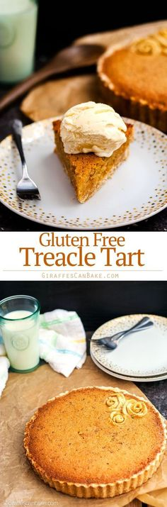 This Gluten Free Treacle Tart is an easy and delicious dessert you can serve any time. It's sticky, sweet, and Harry Potter's favourite! You're going to love how simple this British classic is to make! #glutenfree #treacletart #harrypotter #britishdesserts #baking #thanksgiving via @giraffescanbake