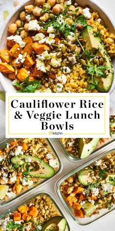 These cauliflower rice bowls are the healthy and cheap lunch you have been looking for. The bowls feature chickpeas, root vegetables (such as sweet potatoes, butternut squash, carrots, or a combinatio Vegetarian Meal Prep, Lunch Meal Prep, Healthy Meal Prep, Healthy Nutrition, Healthy Foods To Eat, Vegetarian Recipes, Healthy Eating, Healthy Work Lunches, Cheap Healthy Lunch
