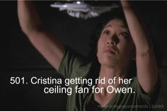 "One of the many amazing emotional moments for our ""cold"" Christina Yang."